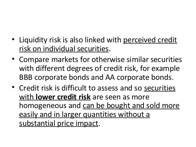• Liquidity risk is also linked with perceived credit risk on individual securities. • Compare markets for otherwise simil...