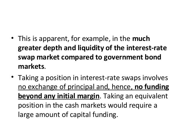 • This is apparent, for example, in the much greater depth and liquidity of the interest-rate swap market compared to gove...