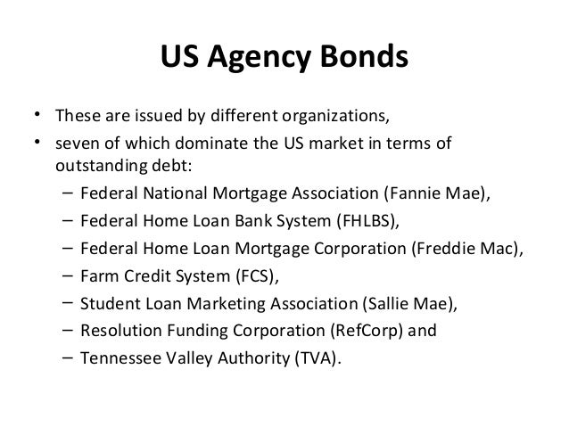 US Agency Bonds • These are issued by different organizations, • seven of which dominate the US market in terms of outstan...