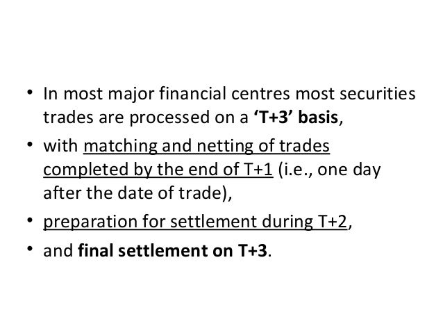 • In most major financial centres most securities trades are processed on a 'T+3' basis, • with matching and netting of tr...