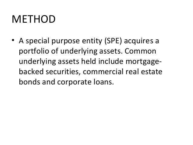 METHOD • A special purpose entity (SPE) acquires a portfolio of underlying assets. Common underlying assets held include m...