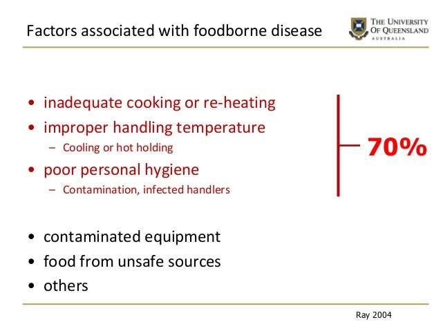 Factors associated with foodborne disease • inadequate cooking or re-heating • improper handling temperature – Cooling or ...