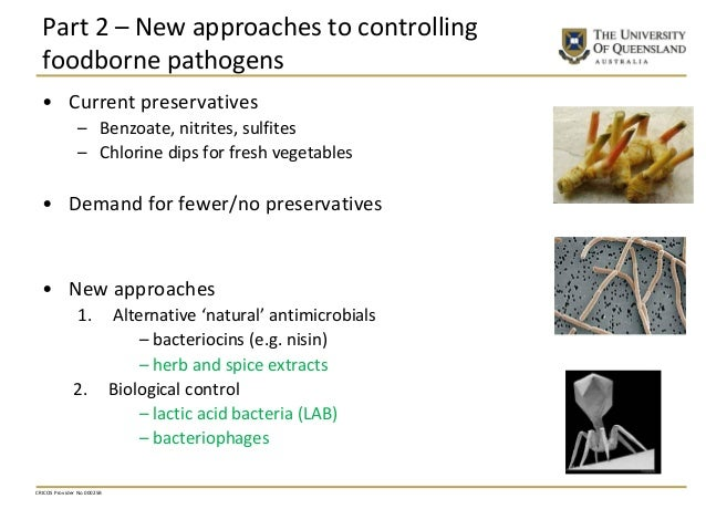 Part 2 – New approaches to controlling foodborne pathogens • Current preservatives – Benzoate, nitrites, sulfites – Chlori...