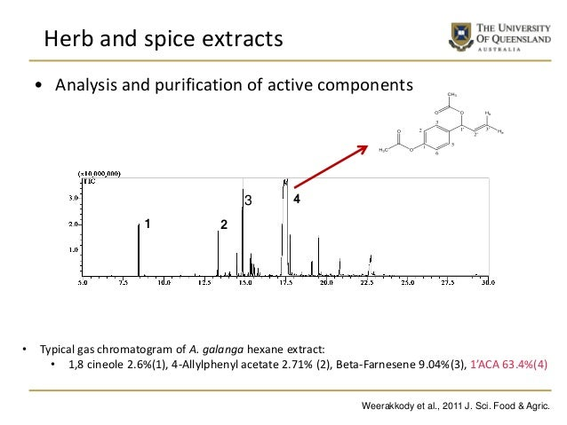 • Analysis and purification of active components • Typical gas chromatogram of A. galanga hexane extract: • 1,8 cineole 2....