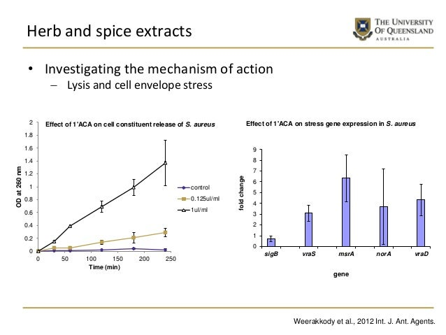 Herb and spice extracts 0 1 2 3 4 5 6 7 8 9 sigB vraS msrA norA vraD foldchange gene Effect of 1'ACA on stress gene expres...