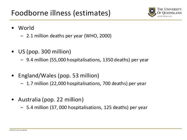 Foodborne illness (estimates) • World – 2.1 million deaths per year (WHO, 2000) • US (pop. 300 million) – 9.4 million (55,...