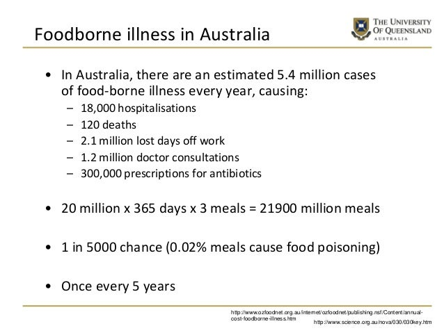 Foodborne illness in Australia • In Australia, there are an estimated 5.4 million cases of food-borne illness every year, ...