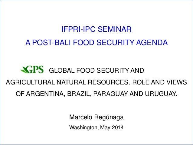 1 IFPRI-IPC SEMINAR A POST-BALI FOOD SECURITY AGENDA GLOBAL FOOD SECURITY AND AGRICULTURAL NATURAL RESOURCES. ROLE AND VIE...