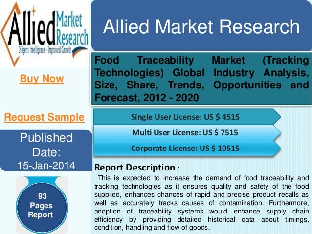 Allied Market Research Buy Now Food Traceability Market (Tracking Technologies) Global Industry Analysis, Size, Share, Tre...