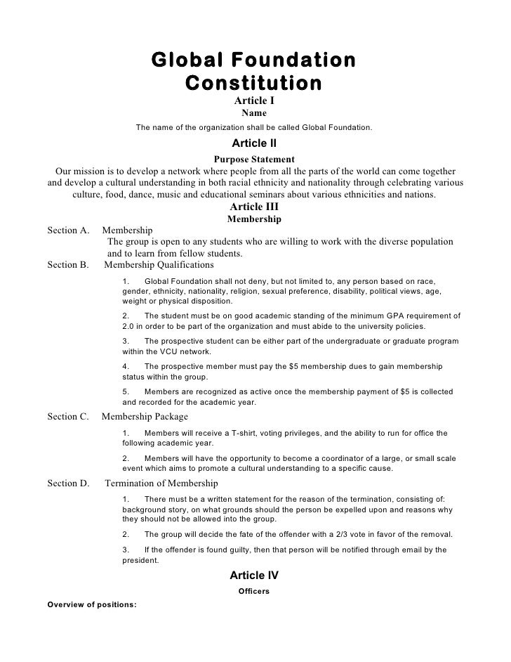 Global Foundation                              Constitution                                                  Article I    ...