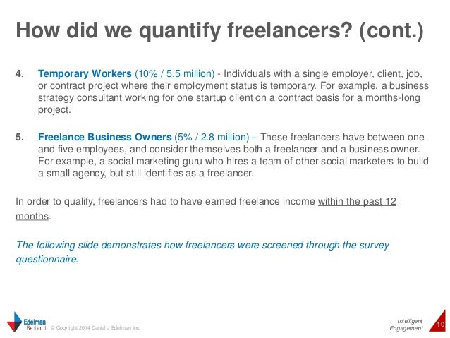 How did we quantify freelancers? (cont.)  4. Temporary Workers (10% / 5.5 million) - Individuals with a single employer, c...