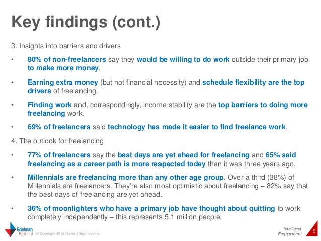 Intelligent  Key findings (cont.)  5 © Copyright 2014 Daniel J Edelman Inc.  Engagement  3. Insights into barriers and dri...