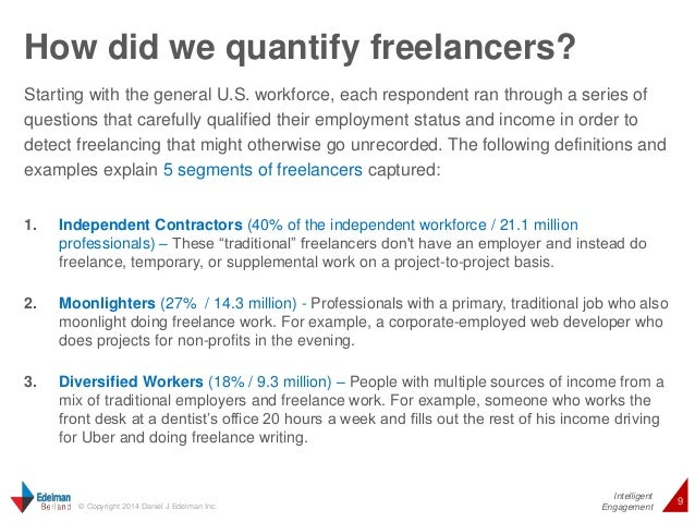 How did we quantify freelancers?  Starting with the general U.S. workforce, each respondent ran through a series of  quest...