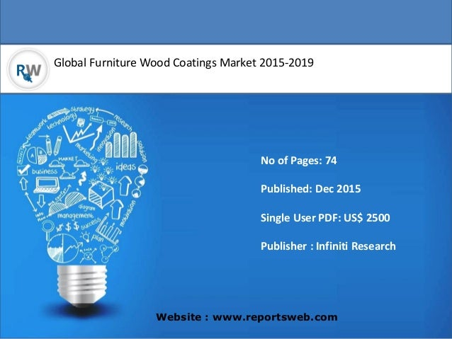 Global Furniture Wood Coatings Market 2015-2019 Website : www.reportsweb.com No of Pages: 74 Published: Dec 2015 Single Us...