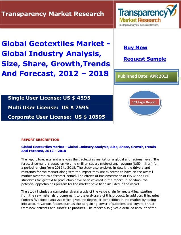 REPORT DESCRIPTIONGlobal Geotextiles Market - Global Industry Analysis, Size, Share, Growth,TrendsAnd Forecast, 2012 – 201...