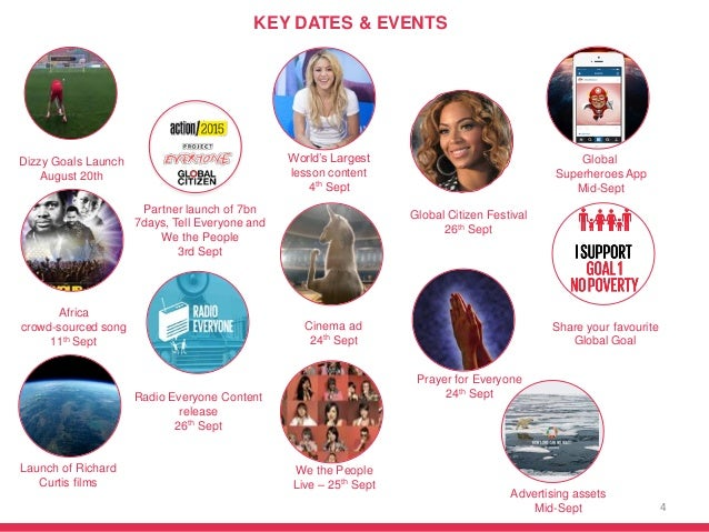 4 KEY DATES & EVENTS Global Citizen Festival 26th Sept World's Largest lesson content 4th Sept Global Superheroes App Mid-...