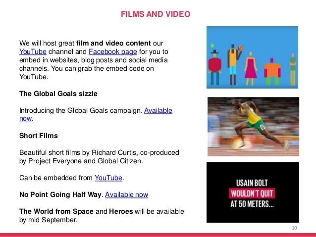 10 We will host great film and video content our YouTube channel and Facebook page for you to embed in websites, blog post...