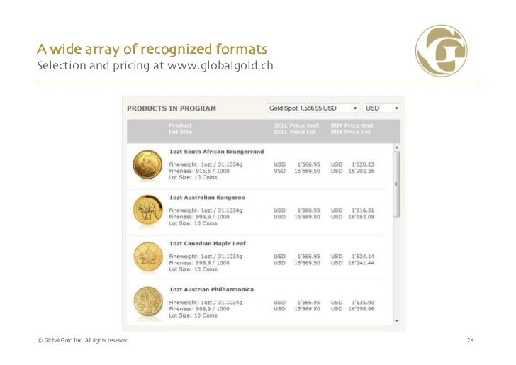 A wide array of recognized formatsSelection and pricing at www.globalgold.ch© Global Gold Inc. All rights reserved.      24