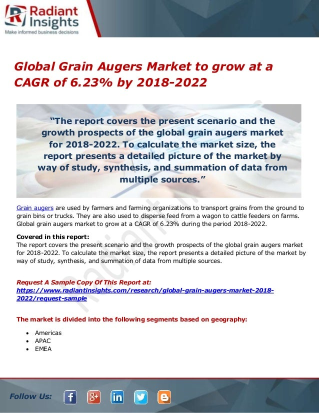 Global grain augers market to grow at a cagr of 6 23% by
