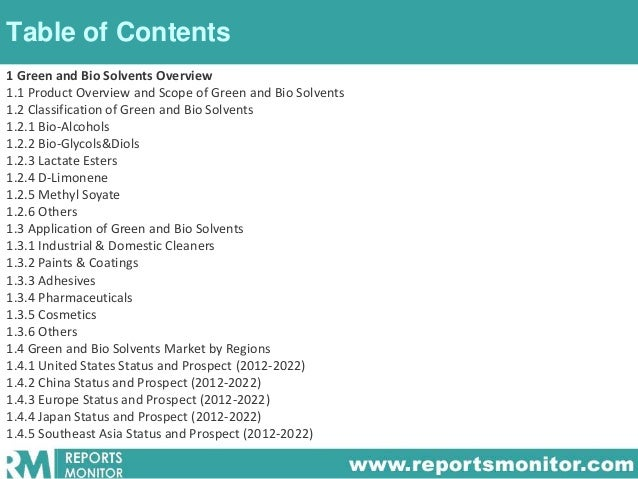 Table of Contents 1 Green and Bio Solvents Overview 1.1 Product Overview and Scope of Green and Bio Solvents 1.2 Classific...
