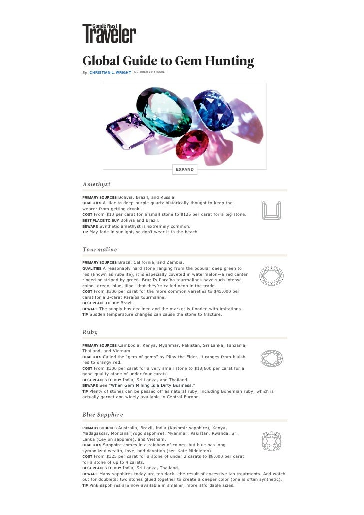Global guide to gem hunting : shopping & style : condé nast traveler