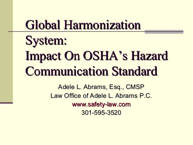 Global Harmonization System By Safety Law