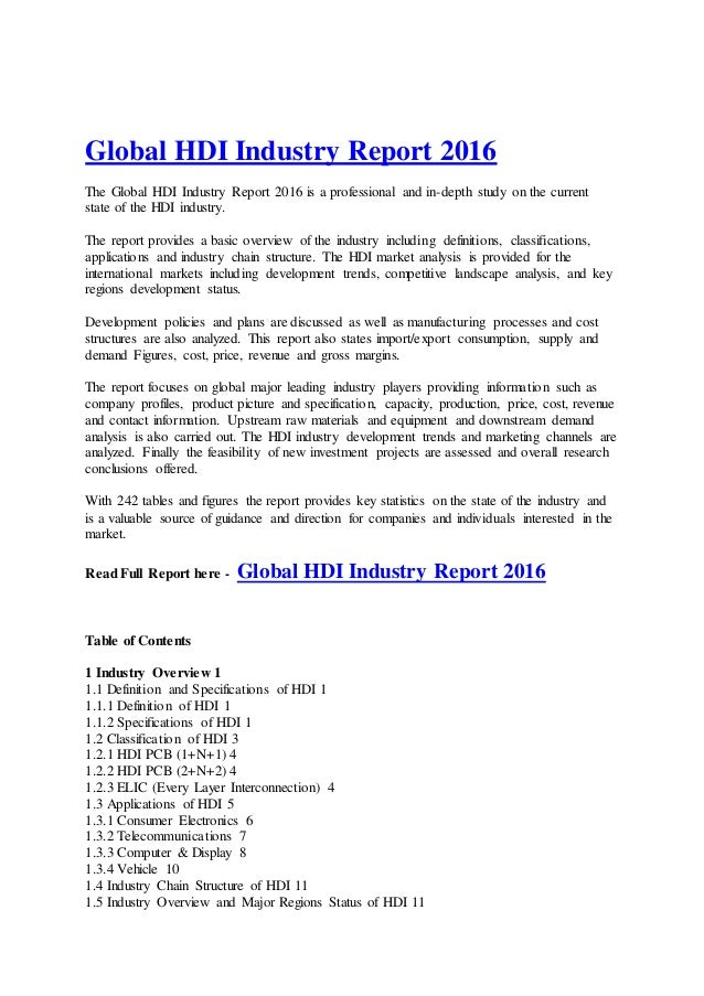 Global HDI Industry Report 2016 The Global HDI Industry Report 2016 is a professional and in-depth study on the current st...