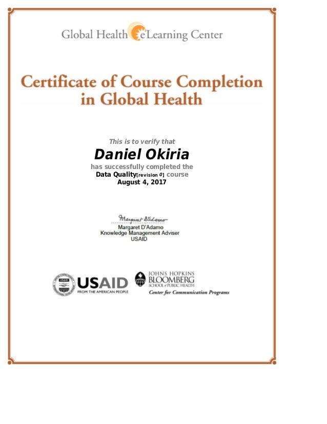 Global Health E Learning Center Certificate Data Quality