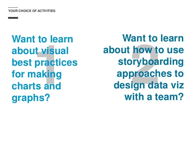 1 2 YOUR CHOICE OF ACTIVITIES Want to learn about visual best practices for making charts and graphs? Want to learn about ...