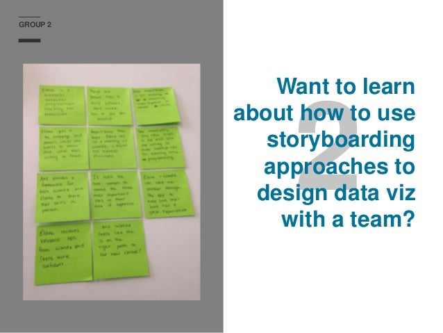 GROUP 2 2 Want to learn about how to use storyboarding approaches to design data viz with a team?