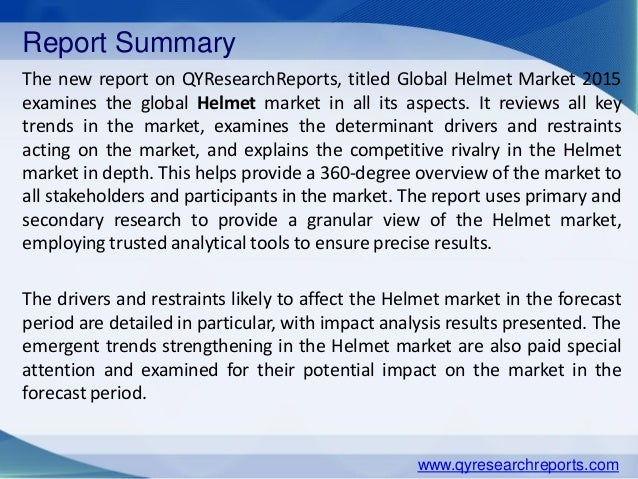 industry analysis on helmet industry Global safety helmets market: market participants  experts and industry participants across the value chain the report provides in-depth analysis of parent market.