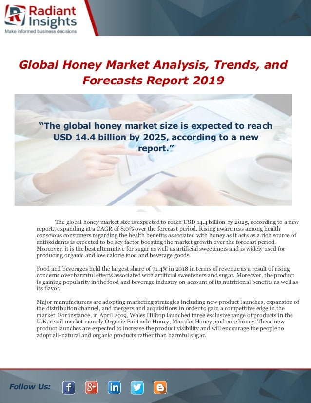 Follow Us: Global Honey Market Analysis, Trends, and Forecasts Report 2019 The global honey market size is expected to rea...