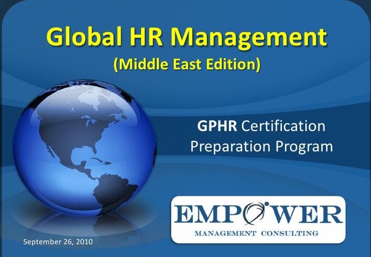 Global HR Management                      (Middle East Edition)                                   GPHR Certification      ...