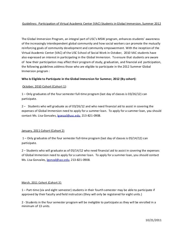 Global immersion guidelines for vac students