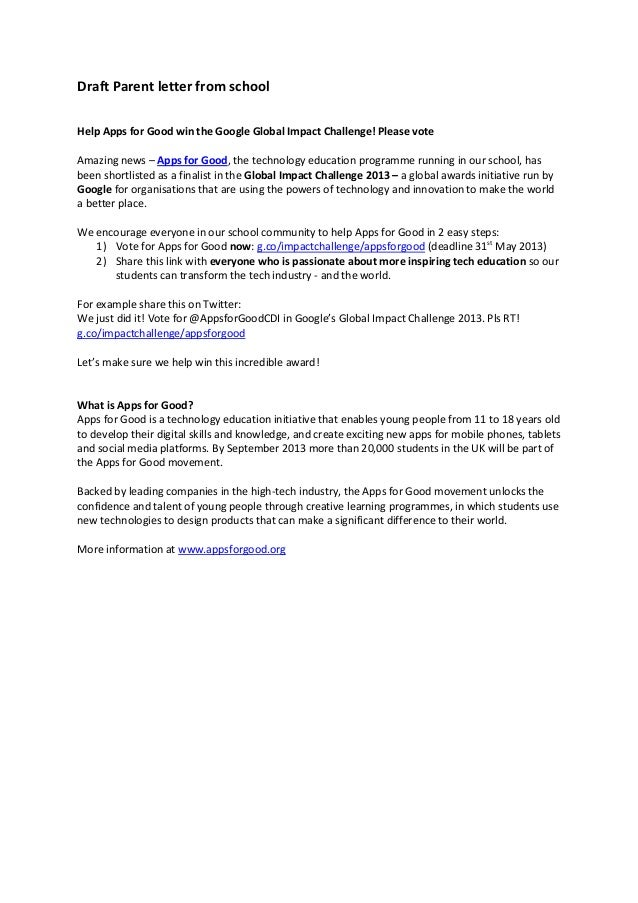 Draft Parent letter from schoolHelp Apps for Good win the Google Global Impact Challenge! Please voteAmazing news – Apps f...