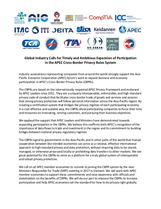 Global Industry Calls for Timely and Ambitious Expansion of Participation in the APEC Cross-Border Privacy Rules System In...
