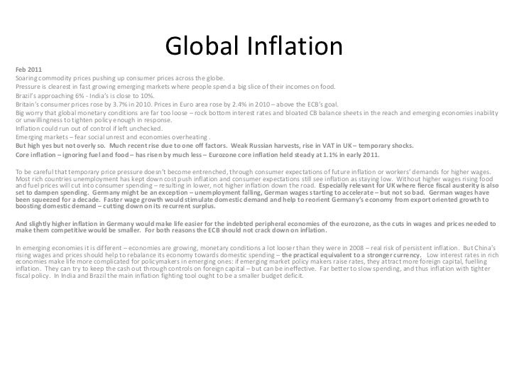 Global Inflation Feb 2011 Soaring commodity prices pushing up consumer prices across the globe. Pressure is clearest in fa...