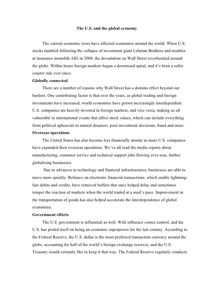 Economic statistical report the global influence