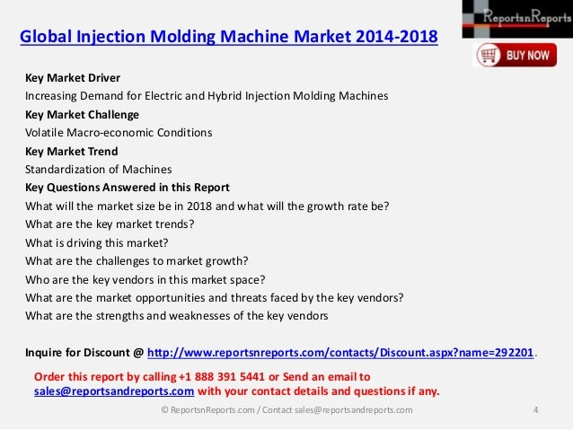 New Release Global Injection Molding Machine Market 2014 2018