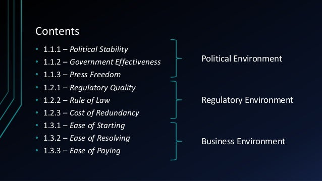 Contents • 1.1.1 – Political Stability • 1.1.2 – Government Effectiveness • 1.1.3 – Press Freedom • 1.2.1 – Regulatory Qua...
