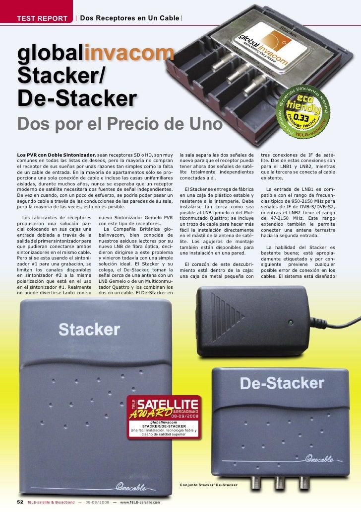 TEST REPORT                  Dos Receptores en Un Cable     globalinvacom Stacker/ De-Stacker Dos por el Precio de Uno    ...