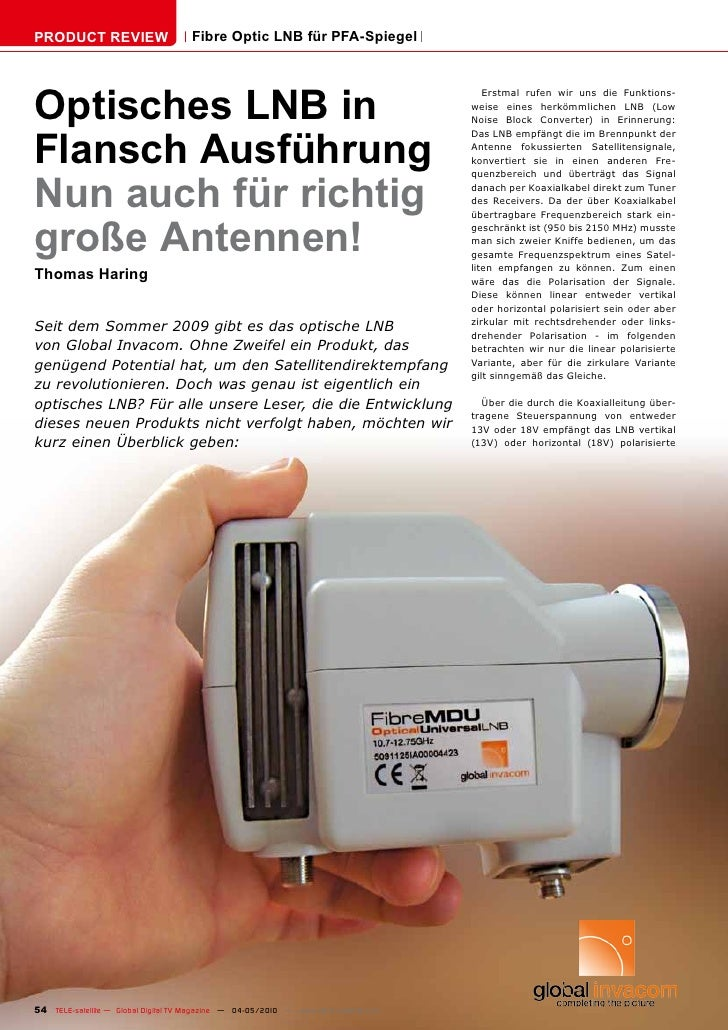 PRODUCT REVIEW                        Fibre Optic LNB für PFA-Spiegel     Optisches LNB in                                ...