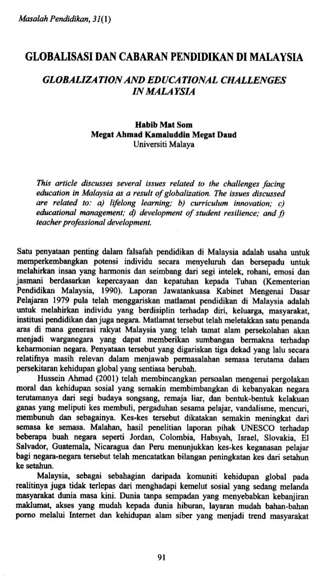 Masalah Pendidikan, 31(1) GLOBALISASI DAN CABARAN PENDIDIKAN DI MALAYSIA GLOBALIZATION AND EDUCATIONAL CHALLENGES IN MALAY...