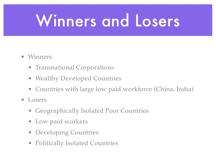 winners and losers from the process of globalization