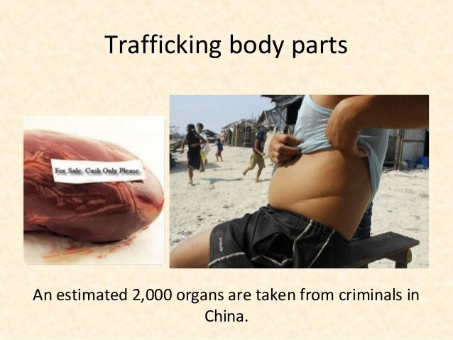 Trafficking body partsAn estimated 2,000 organs are taken from criminals in                       China.
