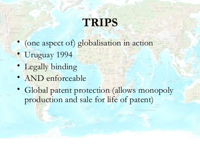 Doha declaration 2001 • TRIPS should be interpreted in a manner which supports governments' attempt to protect public heal...