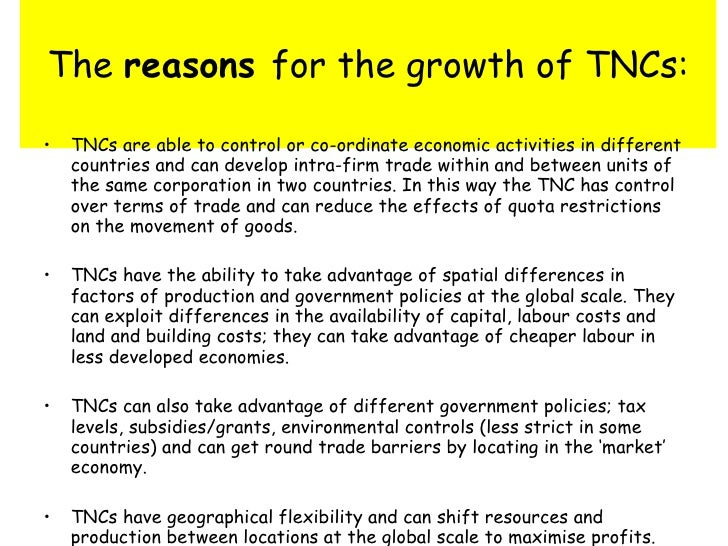 impact of tncs Level 1, a generalised list or set of statements describing impacts of tncs with no depth to answer or a good description of one impact only 0-3 level 2, a good description of more than one impact, with some detail of the impact in the context of a specific area, or say in terms of changes through time 4-7.