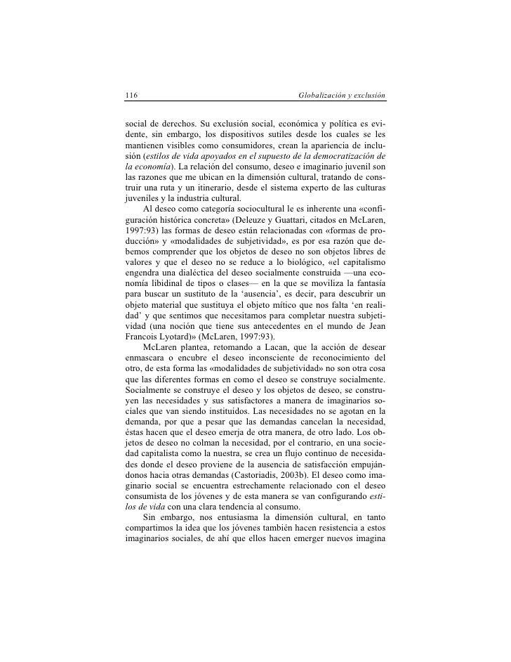 116                                            Globalización y exclusión   social de derechos. Su exclusión social, económ...
