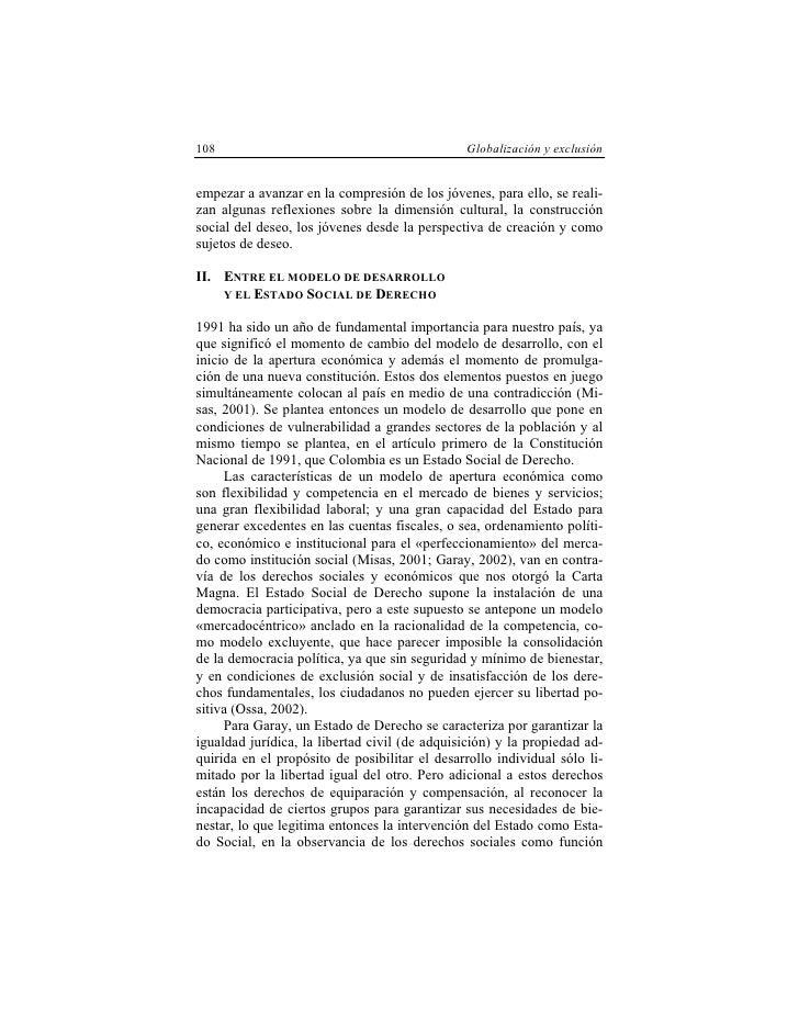 108                                            Globalización y exclusión   empezar a avanzar en la compresión de los jóven...