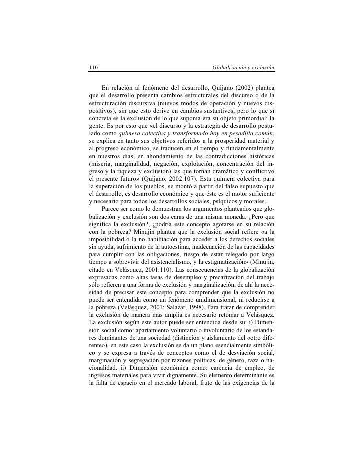 110                                             Globalización y exclusión        En relación al fenómeno del desarrollo, Q...